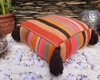 Vintage Batania Kilim Pouf Floor Pillow Tassel Handmade Native Wool Throw Ottoman 03YS024