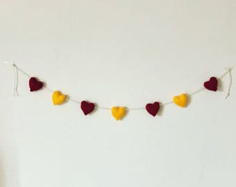 Knitted Gryffindor Heart Bunting