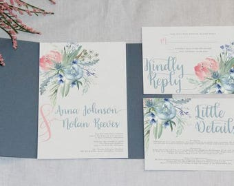 Dusty Blue and Pink Floral Wedding Invitation