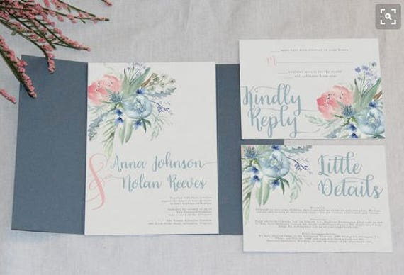 dusty blue and pink floral wedding invitation by unica forma catch