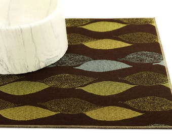 Pet Placemat, Small 12x18, Waterproof, Dog Food Mat, Cat Food Mat, Splat Mat, Stain Resistant, No Mess Mat, Brown with Green Blue Leaves