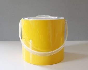 Georges Briard Yellow Vinyl Ice Bucket Mid Century