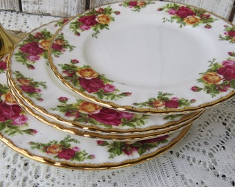 "Royal Albert Old Country Rose Plates 8"" Dishes - Bone China Roses"