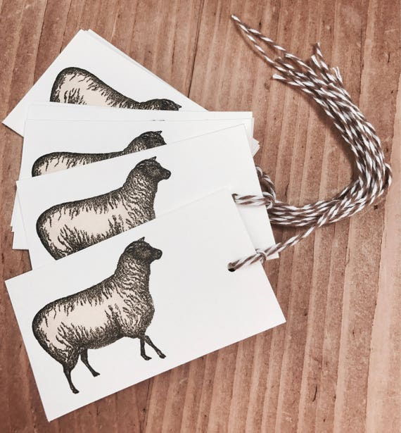 farm sheep gift/favor tags 8 count