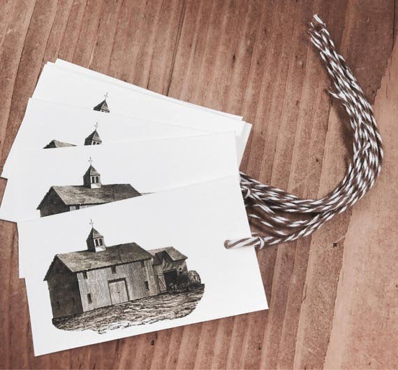 old barn gift/favor tags 8 count