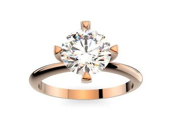 1 Ct Round Diamond Classic Solitaire Engagement Ring 14k gold/ Promise Ring for her / Wedding Ring / Alternative Engagement Ring