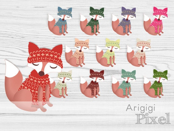 Fox clipart - fox dressed in sweater - winter clip art set, commercial use
