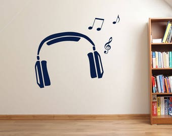 Headphones and Music Notes Wall Sticker A68