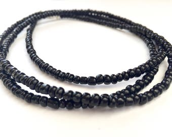 Long black necklace, Long black beaded necklace