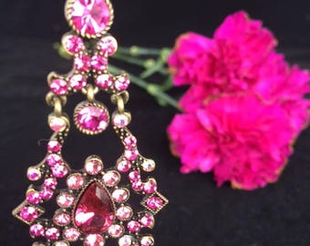Cranberry/Fuschia Chandelier Earrings