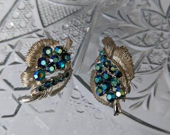 Teal Crystal Clip On 1960s Earrings
