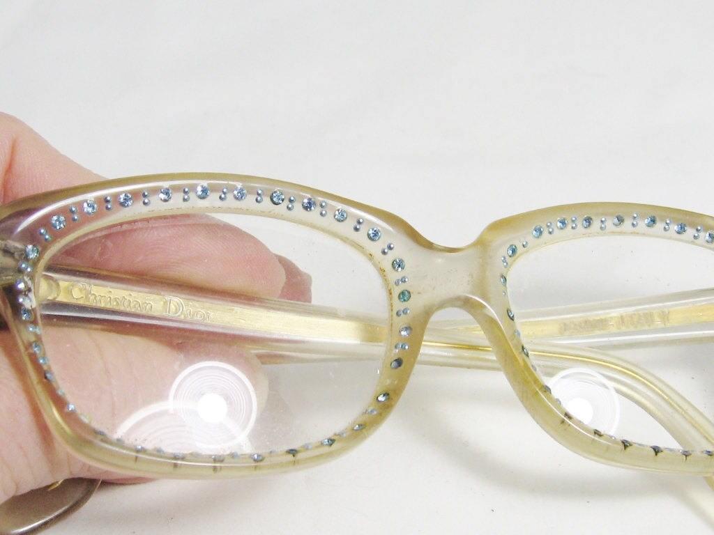 Retro Christian Dior France Eyeglass Frames Shades Blue Crystals ...