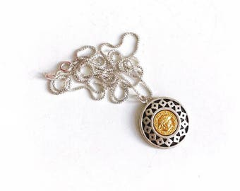Vintage Medusa Mixed Metal Repurposed Button Necklace