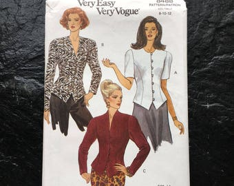 Vintage Semi-Fitted Top Pattern // Vogue 8488 > Sizes 8-10-12 > Unused > jacket style, button down