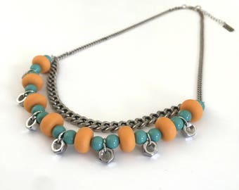 Double layer orange turquoise silver necklace, industrial necklace, orange silicone beads necklace, nulika