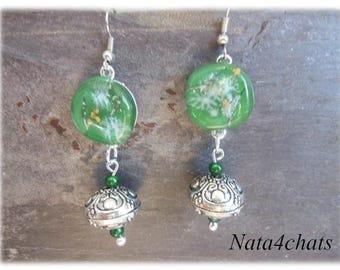 Glass fusing green earrings
