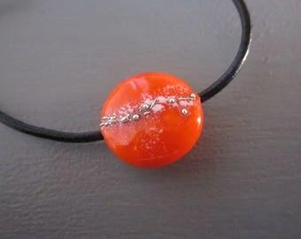 Orange Lampwork Glass Bead Necklace