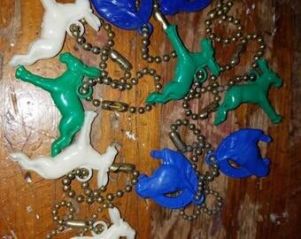 Vintage Plastic Set of 10 Key Chains