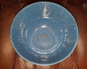 Vintage Blue Enamel Bowl