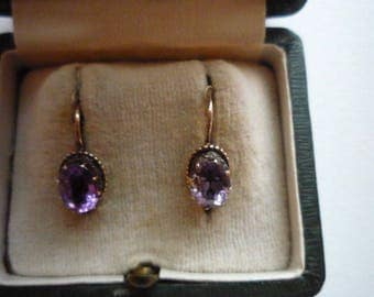 Antique Victorian 10K Rose Gold Faceted Amethyst Leverback Earrings