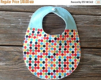 SALE Chenille Two Toned/Quilted Bib ~ Sky Blue with Mulit Colored Polka Dots ~ Gender Neutral ~ Bright, Cheery, FUN!