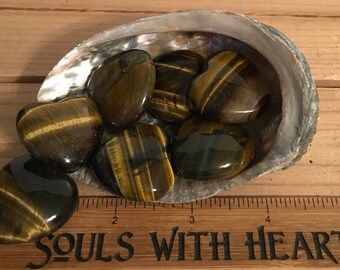 Tiger's Eye Small Gemstone Puffy Heart, Healing Stone, Healing Crystals,Chakra Stone, Spiritual Stone