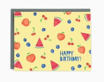 Happy Birthday Summer Fruit - greeting card