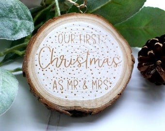 Our First Christmas as Mr & Mrs - Wood Slice Decoration - Christmas Ornament - Woodland Decoration - White and Gold Christmas Keepsake
