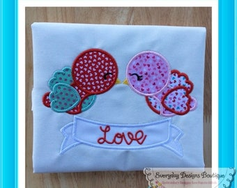 ON SALE Birds with Banner Machine Embroidery Applique Design