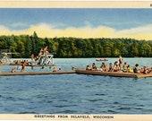 Delafield Wisconsin Water Recreation Bark River Vintage Postcard (unused)