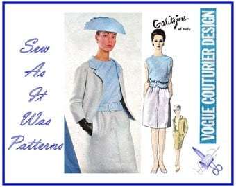 "1960s Vogue Couturier Design 1496 Irene Galitzine Suit Sleeveless Blouse Skirt Clutch Jacket Belt Vintage Sewing Pattern Size 16 Bust 36"" 92"