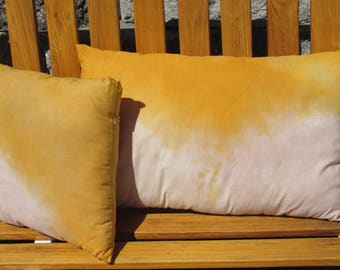 Hand Dyed Accent Pillow, Bohemian Accent Pillow, Hand Dyed Fabric Pillow, Ethically Dyed Accent Pillow, Yellow Accent Pillow, Boho Pillow