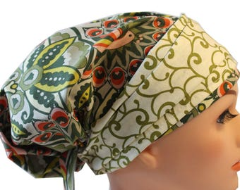 Scrub Hat Cap Chemo Bad Hair Day Hat  European BOHO Banded Pixie Tie Back Fancy Peacock Swirl Olive Band 2nd Item Ships FREE