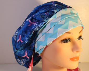Scrub Cap Surgical Medical Chemo Chef Vet Doctor Nurse Hat Banded Bouffant Tie Back Pink Ribbon Awareness Blue Chevron 2nd Item Ships FREE