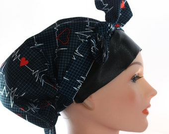 Scrub Hat Cap Chemo Bad Hair Day Hat  European BOHO Pixie Tie Back Ekg Heartbeats SATIN Band and Lined Tie Band 2nd Item Ships FREE