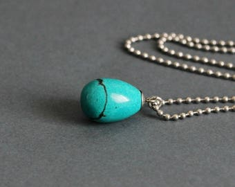 Turquoise Drop Necklace Natural Stone Necklace Turquoise Necklace Drop Pendant Turquoise Silver Minimalist Necklace Turquoise Jewelry Gift