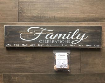 Wooden Family Celebrations sign - Birthday board on pine