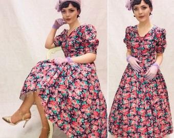 Vintage floral Laura Ashley dress, size 10/12