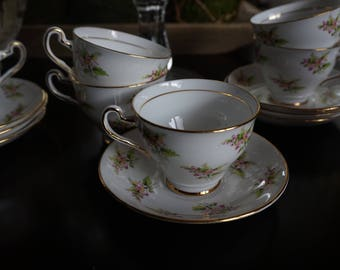 Vintage, Set of Seven Clare Bone China Teacup and Saucer Sets