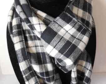 Black and white plaid flannel infinity scarf
