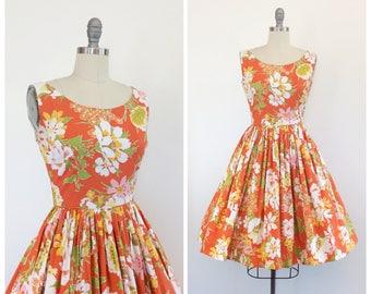 50s Orange Floral Cotton Dress / 1950s Vintage Sun Summer Day Dress / Small / Size 4