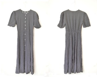vintage black and white dotted button down midi dress 80s // S