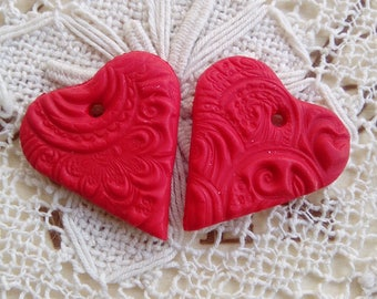 Red heart earring charms, polymer clay charms, red heart component, jewelry component, unique earring charms, handmade charms, valentines