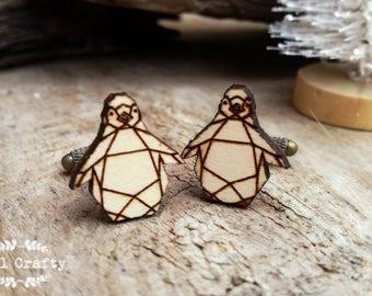 Origami Penguin Wooden Cufflinks Geometric Penguin Dad Grooms Best man Groomsman Rustic Wedding Birthday Gift Cuff links