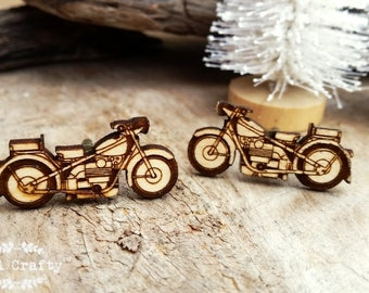 Retro Motorcycle Wooden Cufflinks Motorbike Dad Grooms Best man Groomsman Rustic Wedding Birthday Gift Cuff links