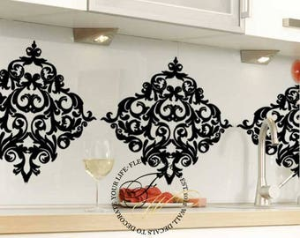 Damask Wall Decals Set Of 6   Damask Wall Stickers   Shabby Chic Vinyl  Wallpaper Look Part 23