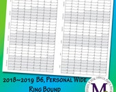 B6, Personal Wide Ring Bound Academic year 2018-2019  Fold Out, Year at a Glance
