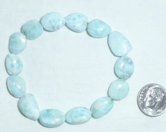 """7"""" Genuine Larimar Beads Half Strand 10mm to 12mm Large Faceted Flat Oval Free Form Stretch Bracelet Accent Blue Dominican Republic 10 12 mm"""