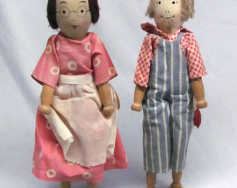 "Vintage HTF Patented 1935 12"" Wood Schoenhut Ty & Hattie Pinn Dolls"