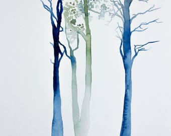 tree study no. 4 . original watercolor painting